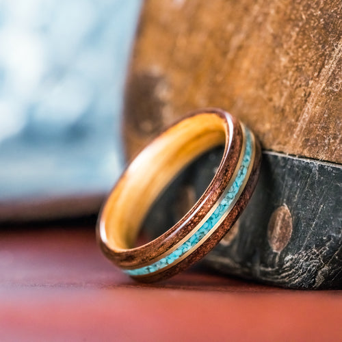 (In-Stock) Antique Walnut /  Maker's Mark Liner with Turquoise & Dual Brass Inlays - Size 9/5.5 mm Wide