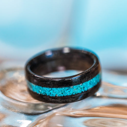 (In-Stock) Weathered Maker's Mark & Turquoise  - Size 9.5/9 mm Wide