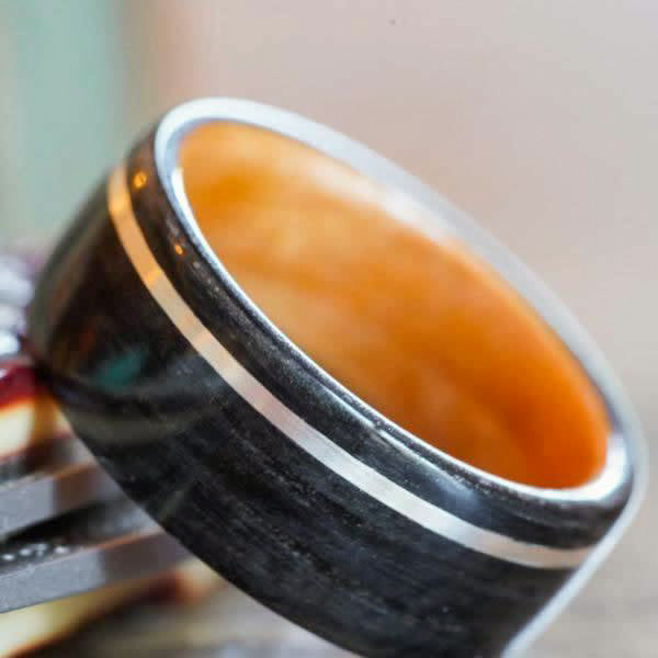 Weathered Whiskey Barrel & Black Cherry Wood Wedding Ring with Offset Sterling Silver Inlay