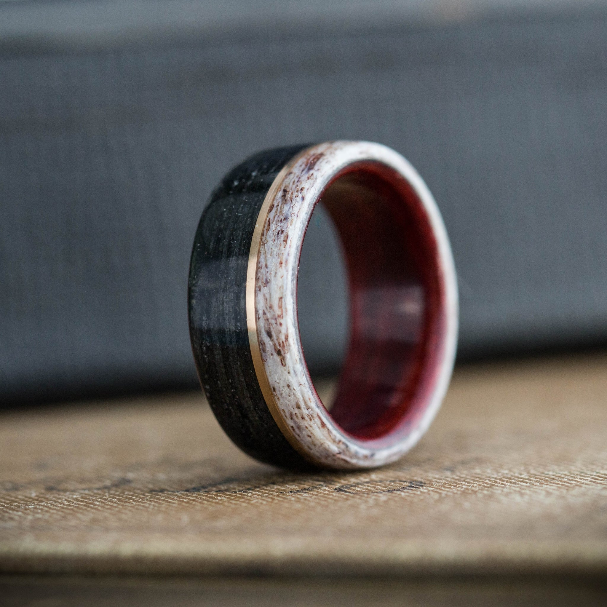 (In-Stock) Weathered Maker's Mark & Bloodwood Liner w/ Elk Edge & Offset Bronze  - Size 7.5/8mm Wide