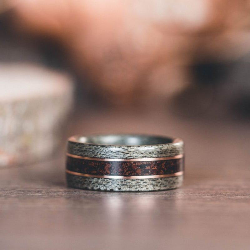 Weathered Maple Wood Wedding Ring with 1950s Coffee Inlay and Dual Bronze Inlays
