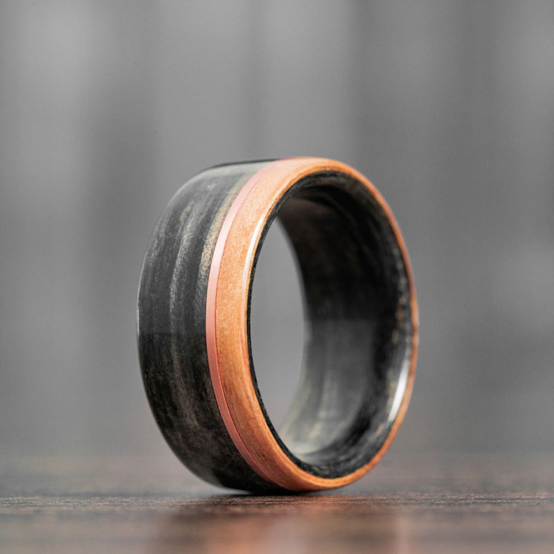 Weathered Whiskey Barrel Wood Wedding Ring with Offset Rose Gold & Natural Whiskey Barrel Edge