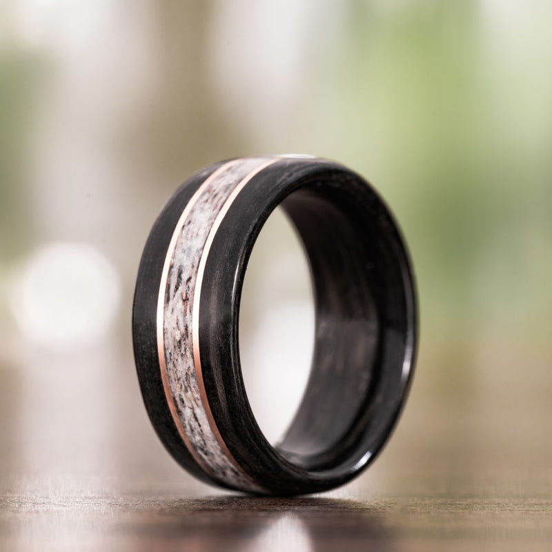 Weathered Whiskey Barrel Wood Wedding Ring with Elk Antler and Double Gold Inlays