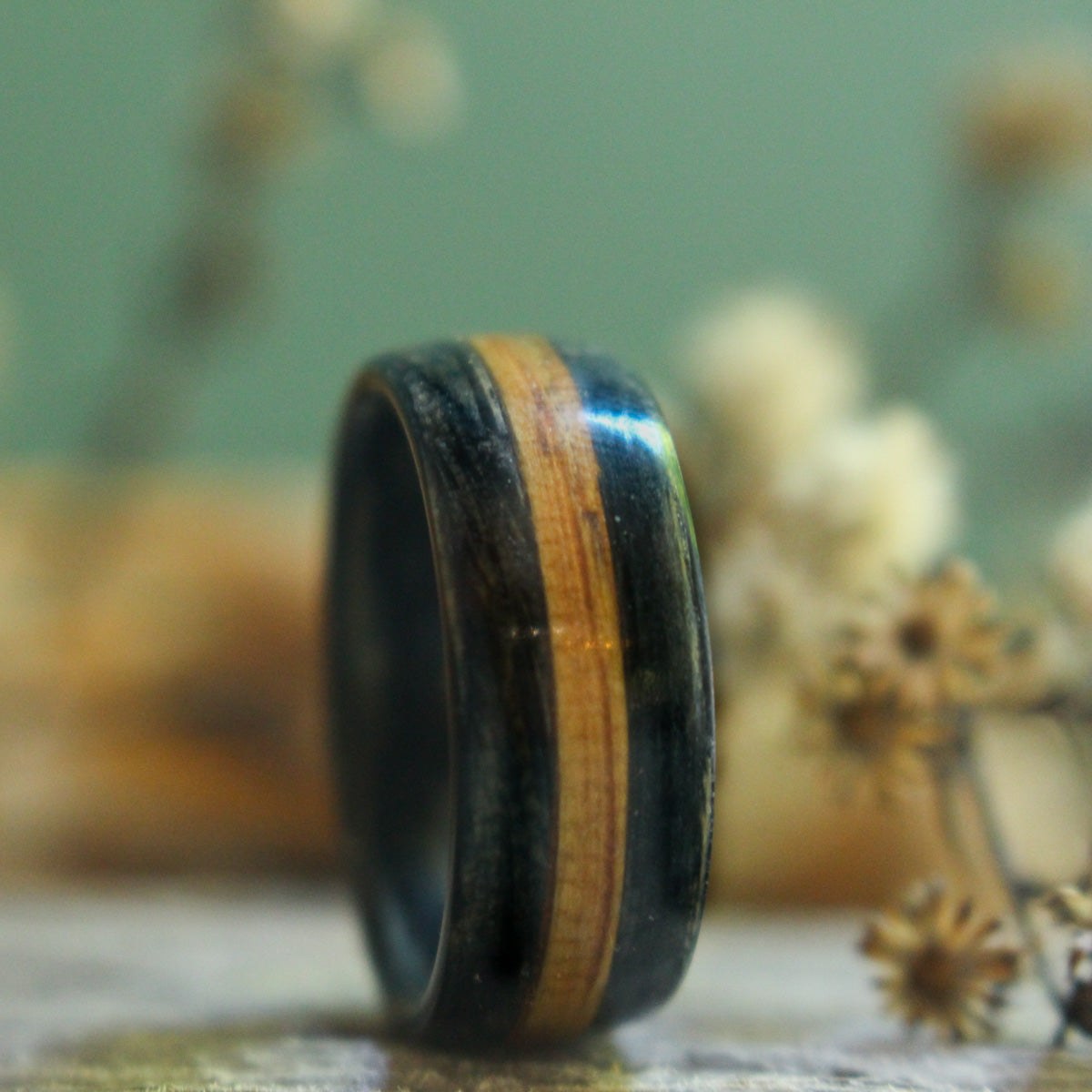 Weathered Whiskey Barrel Wood Wedding Ring with Natural Whiskey Inlay