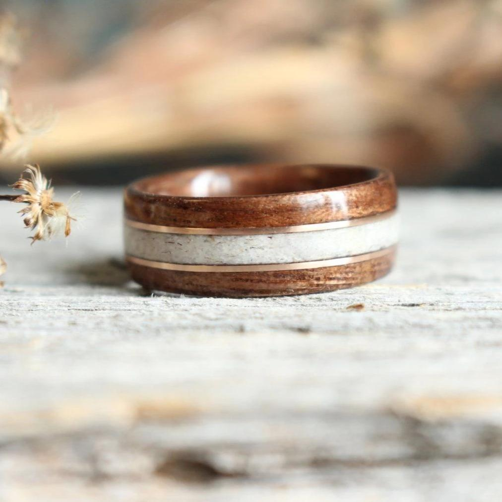 In-Stock Ring - (In-Stock) Antique Walnut W/Elk And Double Rose Gold - Size 6.5/5.5 Mm Wide