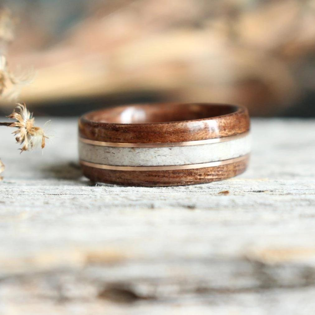 In-Stock Ring - (In-Stock) Antique Walnut W/Elk And Double Rose Gold - Size 7.25/9mm Wide