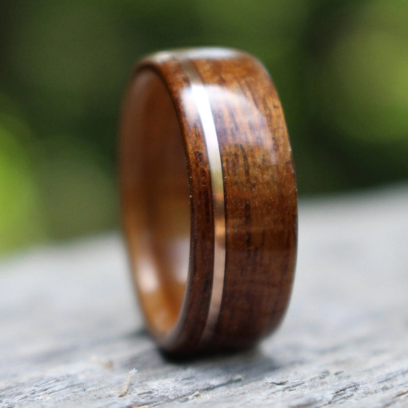In-Stock Ring - (In-Stock) Teak & Whiskey - Jack Daniel's W/Offset Rose Gold Inlay - Size 11.5/ 6.5mm Wide