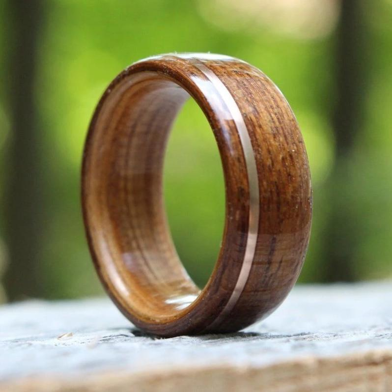 In-Stock Ring - (In-Stock) Teak & Whiskey - Jack Daniel's W/Offset Rose Gold Inlay - Size 12/9 Mm Wide