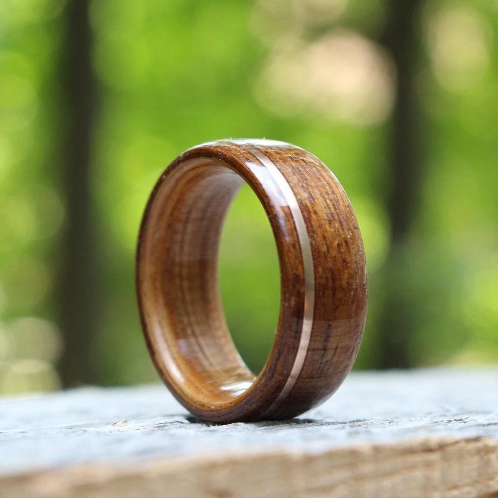 In-Stock Ring - (In-Stock) Teak & Whiskey - Makers Mark W/Offset Rose Gold Inlay - Size 12/8 Mm Wide