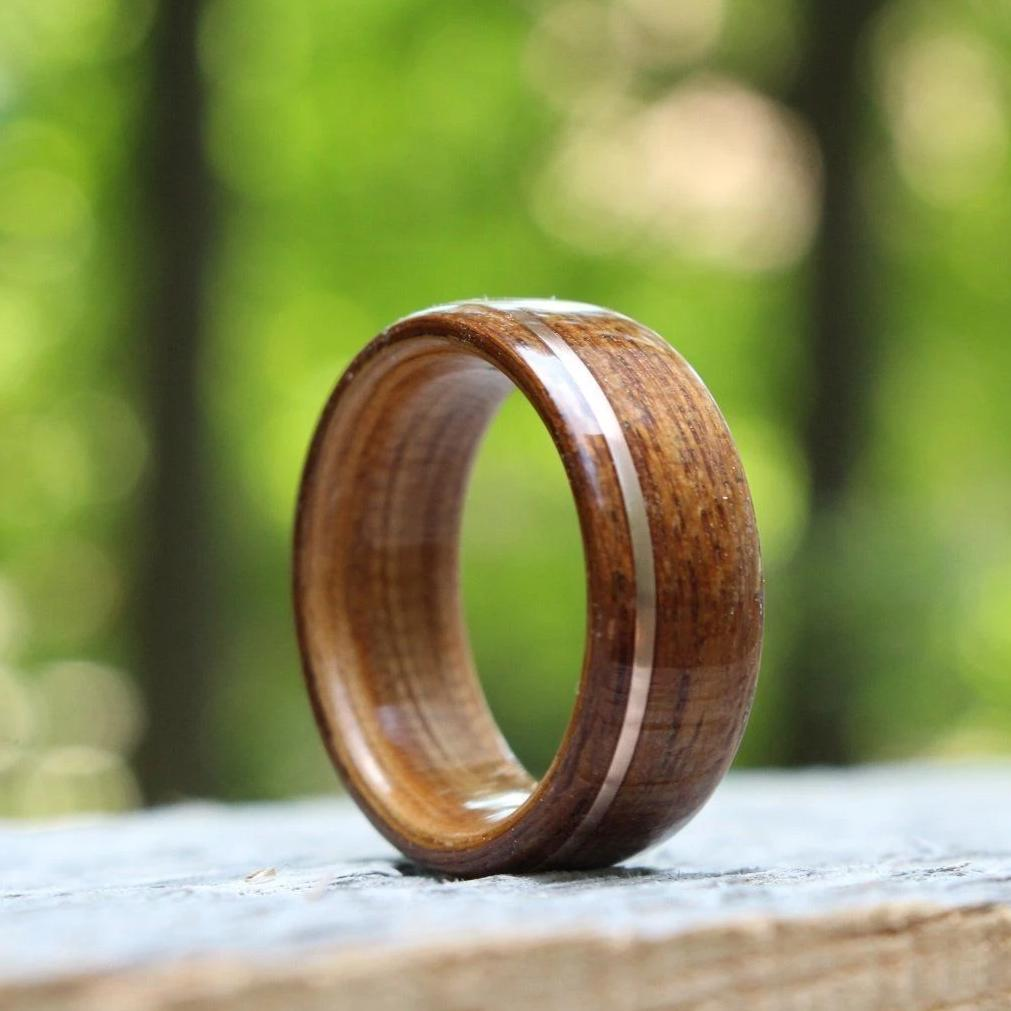 In-Stock Ring - (In-Stock) Teak & Whiskey - Wild Turkey W/Offset Rose Gold Inlay - Size 13.5/9mm Wide