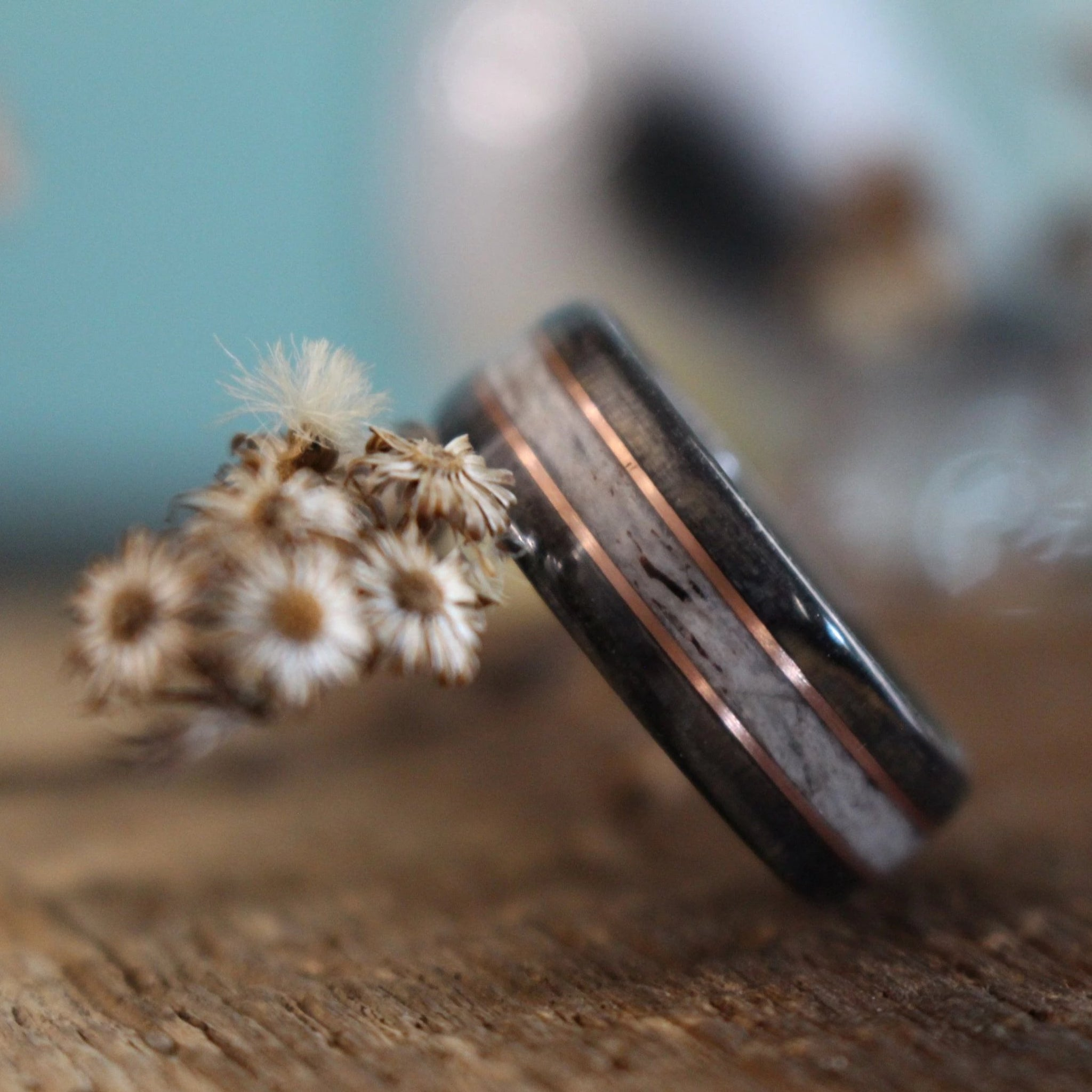 In-Stock Ring - (In-Stock) Weathered Jack Daniel's & Elk W/Double Rose Gold - Size 12.25/ 5.5 Mm Wide