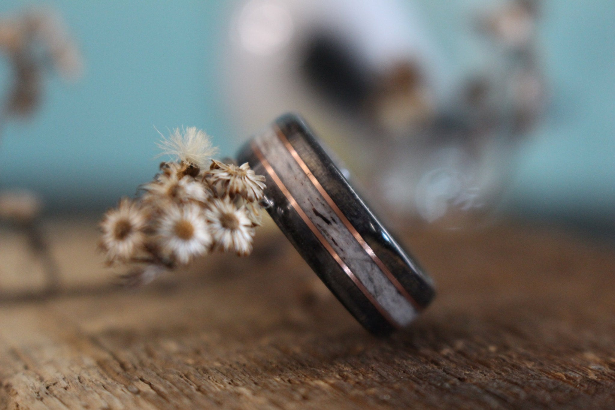 In-Stock Ring - (In-Stock) Weathered Jack Daniel's & Elk W/Double Rose Gold - Size 4.75/ 7mm Wide