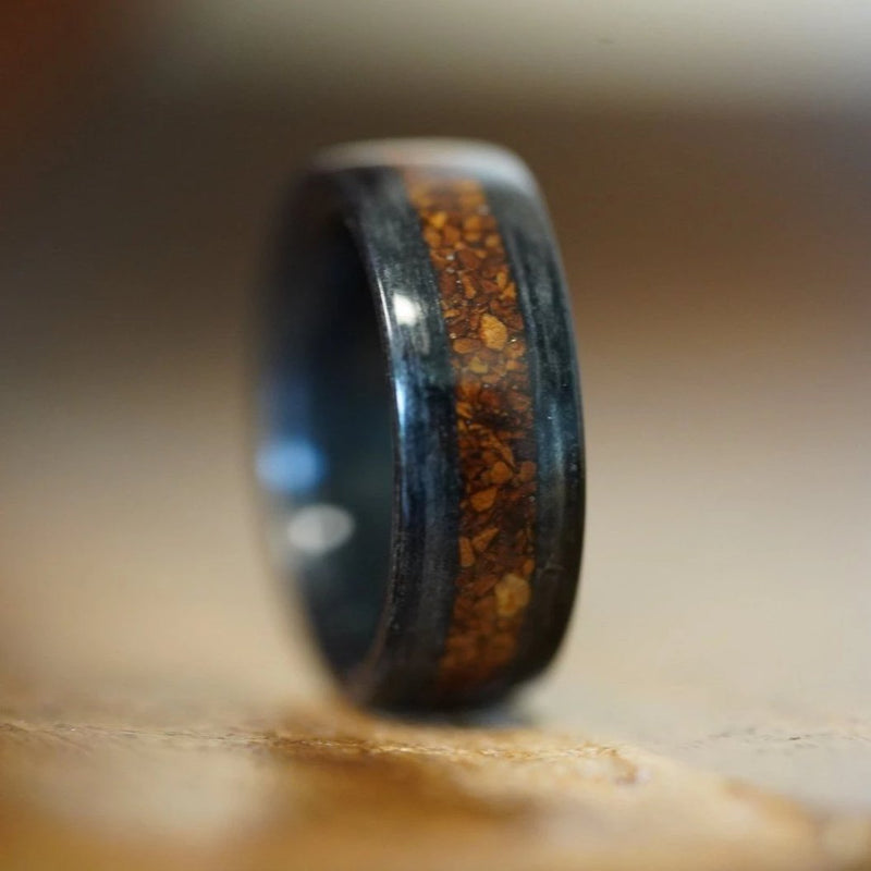 In-Stock Ring - (In-Stock)  Weathered Jack Daniel's W/ Coffee Inlay - Size 6.5/ 8mm Wide