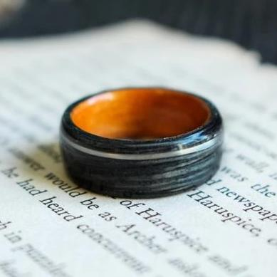 In-Stock Ring - (In-Stock) Weathered Jack Daniel's Whiskey/Natural Cherry W/ Rose Gold Inlay - Size 9/9 Mm Wide