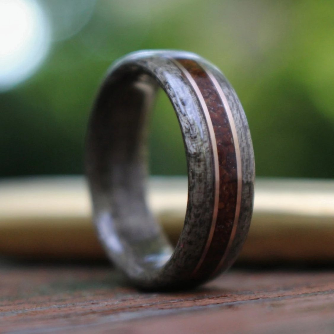 In-Stock Ring - (In-Stock) Weathered Maple & Coffee W/Dual Bronze - Size 15/9mm Wide