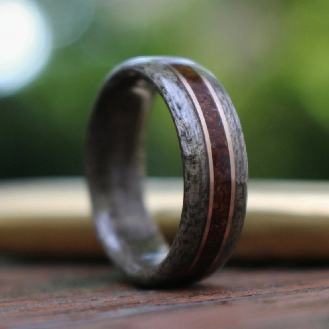 In-Stock Ring - (In-Stock) Weathered Maple & Coffee W/Dual Bronze - Size 6.75/9mm Wide