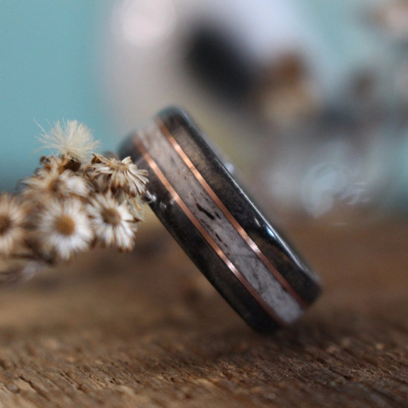 In-Stock Ring - (In-Stock) Weathered Woodford Reserve & Elk W/Double Rose Gold - Size 5/5.5 Mm Wide