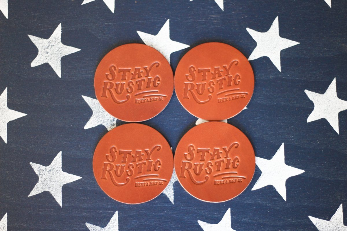 Leather Goods - Stay Rustic Leather Coasters (Set Of 4)