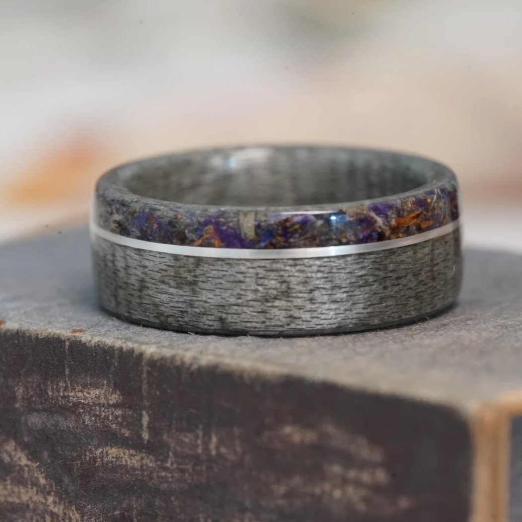 (In-Stock) Weathered Maple and Lavender w/ Offset Sterling Silver Inlay - Size 7/7mm Wide