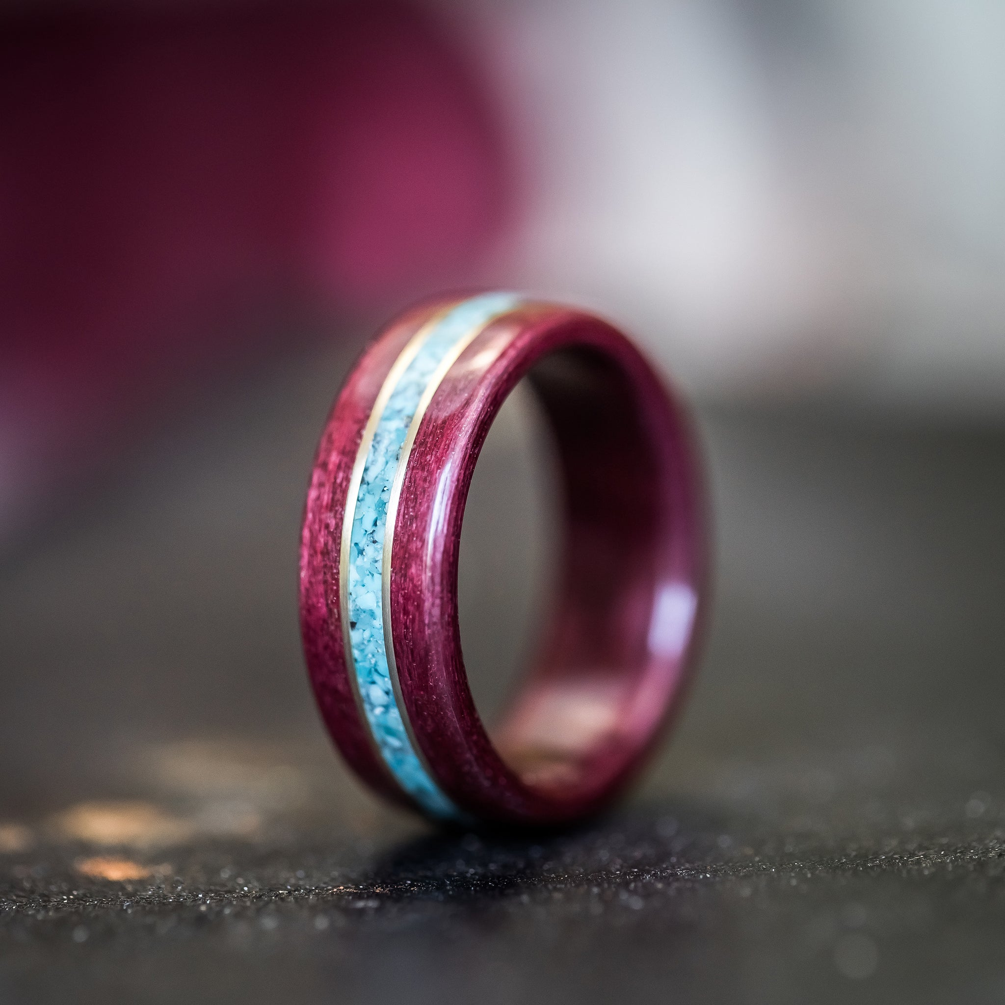 (In-Stock) Purple Heart Wood w/Turquoise Inlay & Dual Yellow Gold - Size 10/8mm Wide
