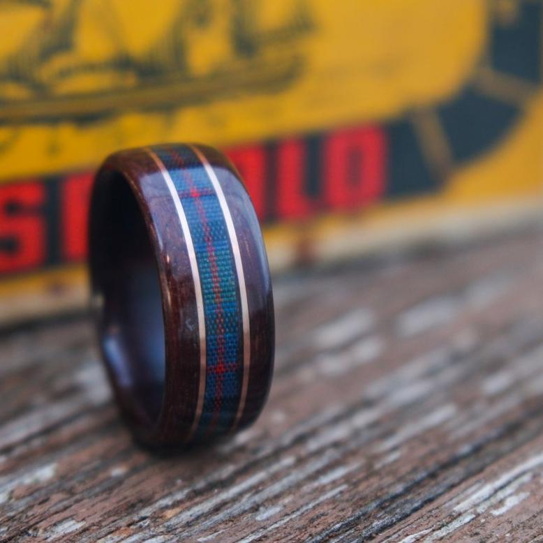 Rings - Celtic Tartan Wood Wedding Ring - Rosewood With Center Tartan & Dual Gold Inlays