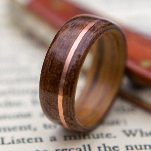 Weathered Maple Wood Wedding Ring With 1950s Coffee Inlay