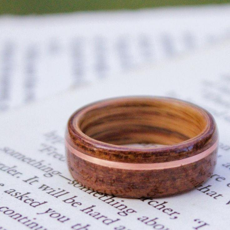 Rings - Historic Teak Wood Wedding Ring From The USS North Carolina With Whiskey Barrel And Copper Inlay