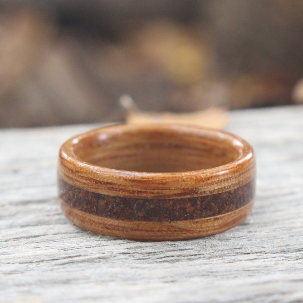 Rings - Natural Whiskey Barrel With 1950s Coffee Inlay Wood Ring