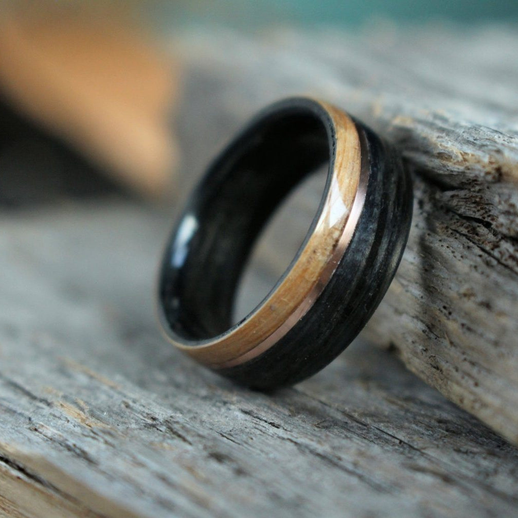 Weathered Whiskey Barrel Ring With Rose Gold And Natural Whiskey