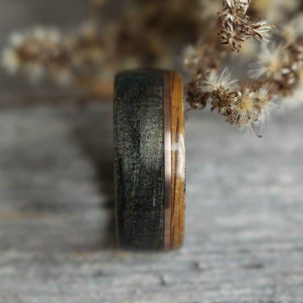 Rings - Offset Whiskey Double Ring - Weathered Whiskey Barrel With Offset Rose Gold & Natural Whiskey Barrel Edge
