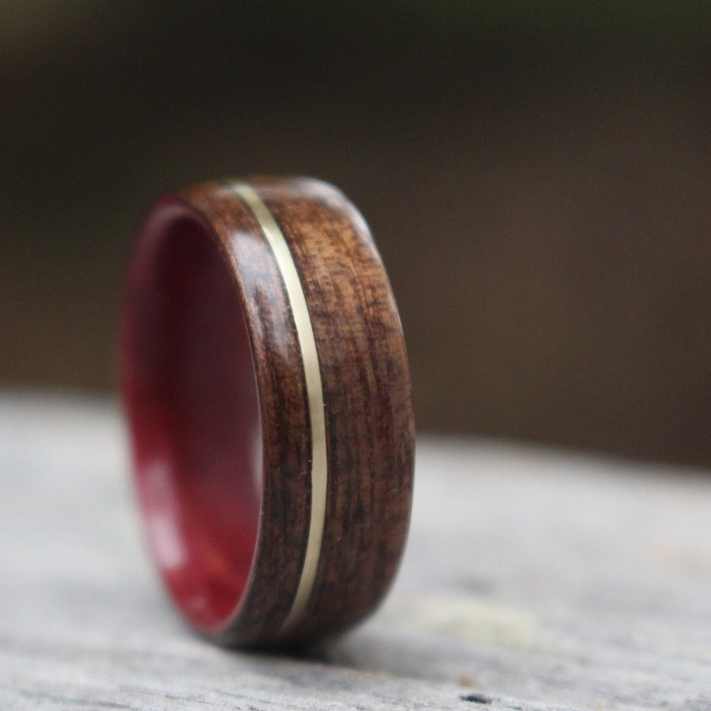 Rings - Purple Heart Wood, M1 Garand WWII Rifle Walnut, And Gold Ring - Support Our Veterans