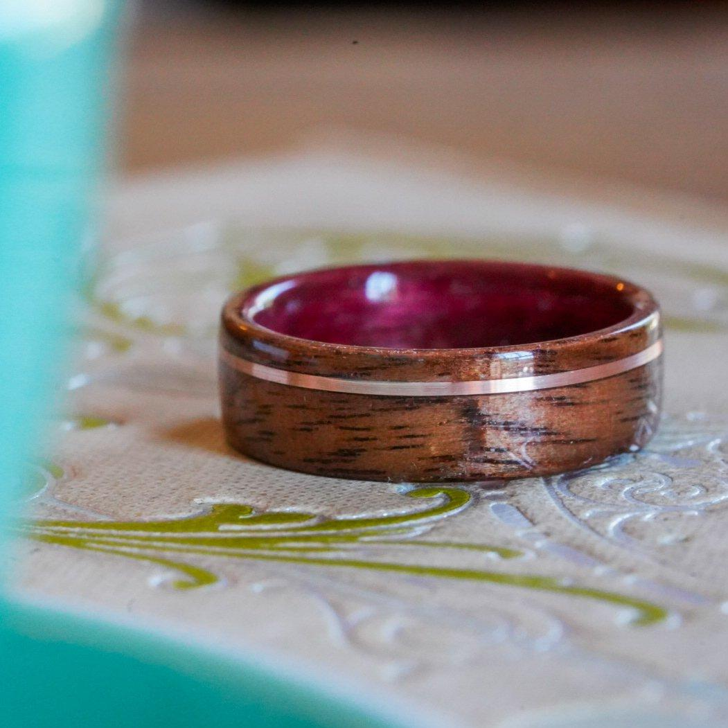 Rings - Purple Heart Wood Wedding Ring With M1 Garand WWII Rifle Walnut And Gold - Support Our Veterans