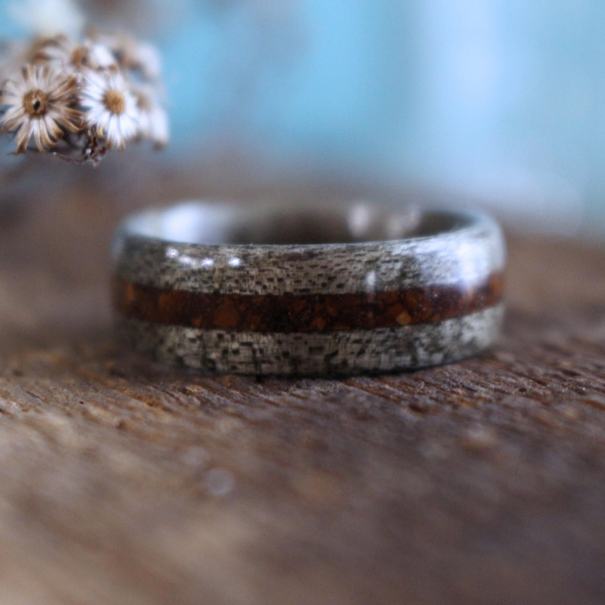 Rings - Weathered Maple Wood Wedding Ring With 1950s Coffee Inlay