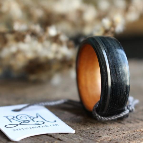 Rings - Weathered Whiskey Barrel & Black Cherry Wood Wedding Ring With Offset Sterling Silver Inlay