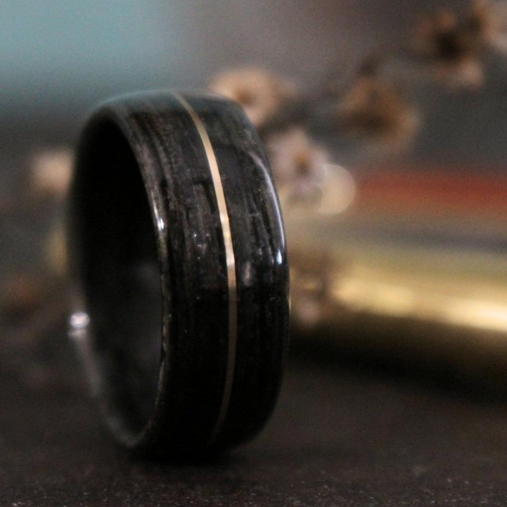 Rings - Weathered Whiskey Barrel Wood Wedding Ring And Center Gold Inlay