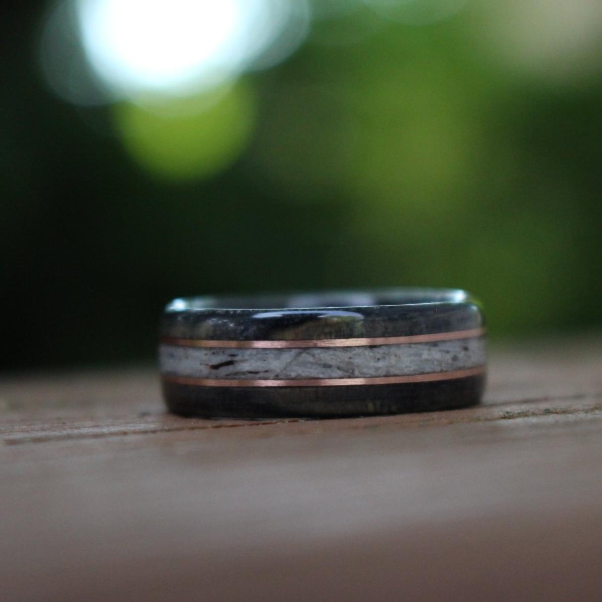 Rings - Weathered Whiskey Barrel Wood Wedding Ring With Elk Antler And Double Gold Inlays