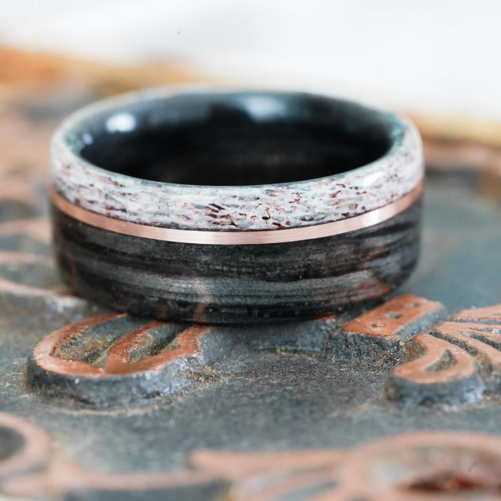 Rings - Weathered Whiskey Barrel Wood Wedding Ring With Elk Antler Edge And Offset Gold Inlay
