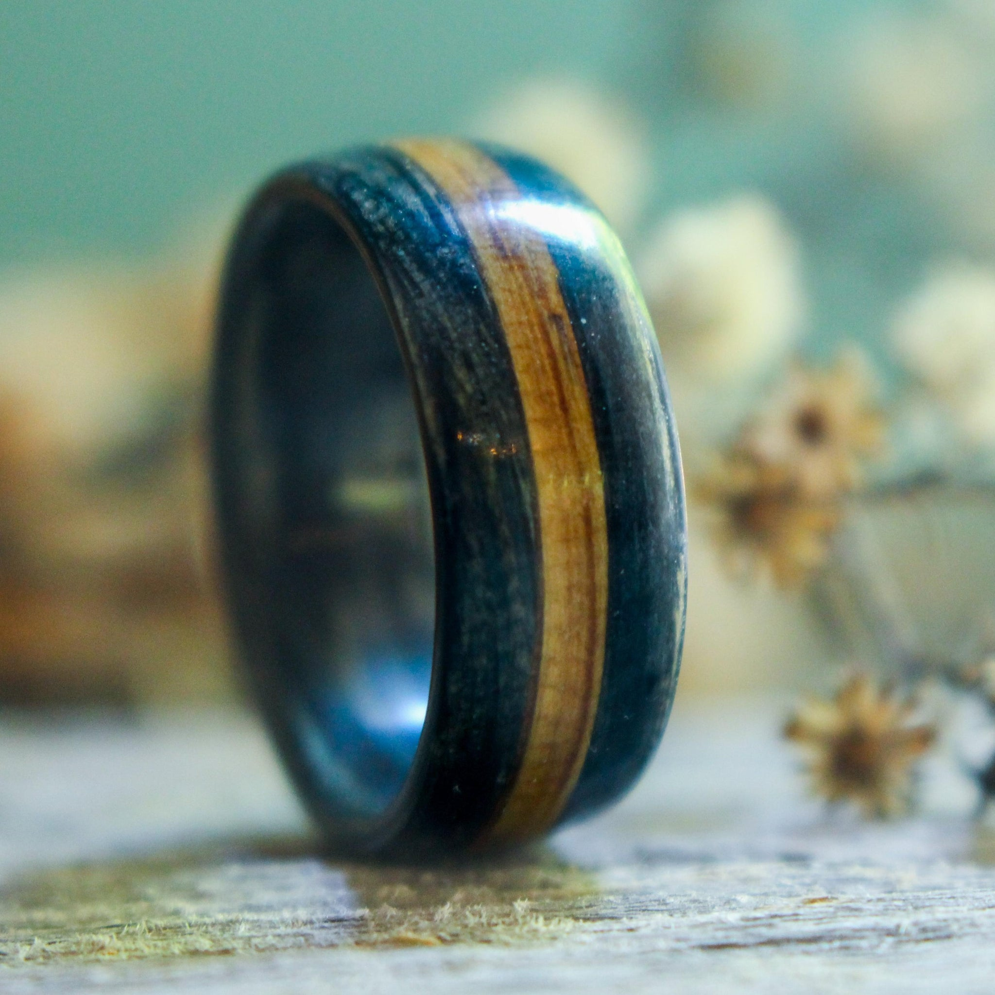 Rings - Weathered Whiskey Barrel Wood Wedding Ring With Natural Whiskey Inlay