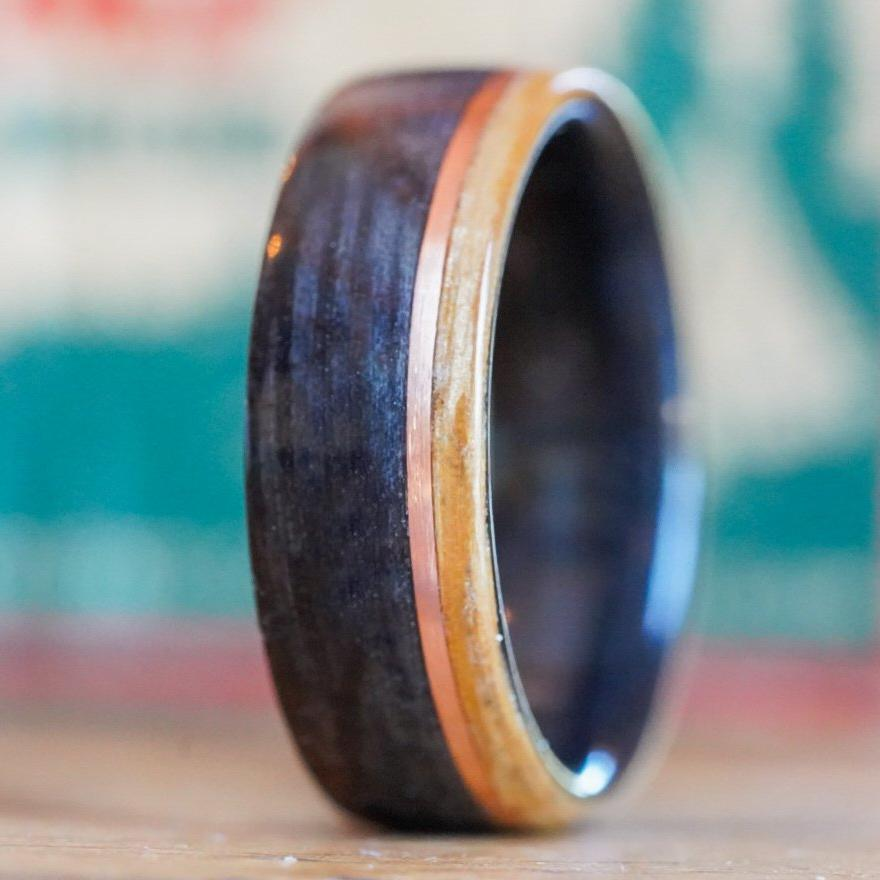 Rings - Weathered Whiskey Barrel Wood Wedding Ring With Offset Rose Gold & Natural Whiskey Barrel Edge