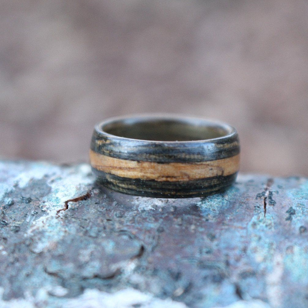 Rings - Whiskey Double Ring - Weathered Whiskey Barrel With Natural Inlay