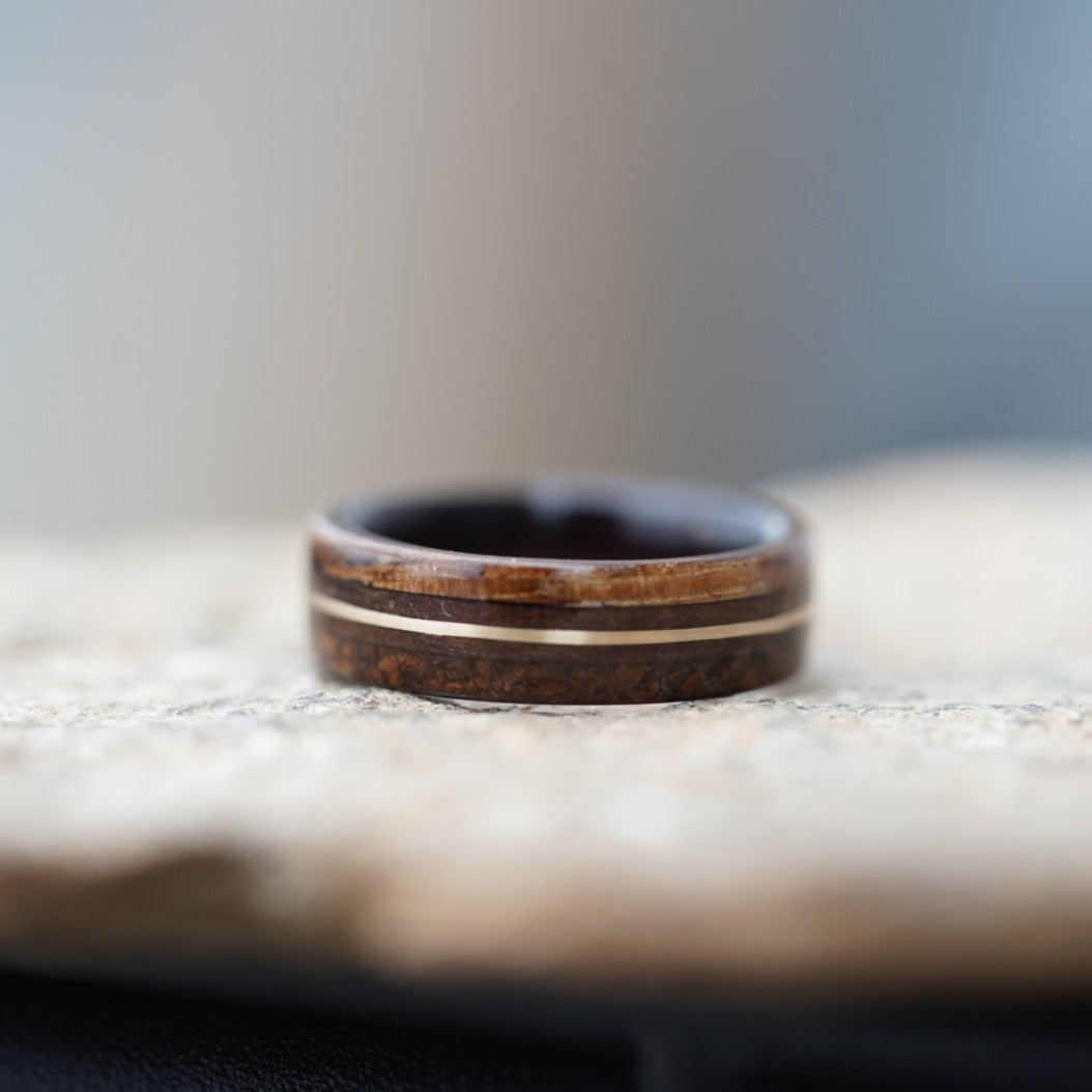 (In Stock) Custom Rosewood & Yellow Gold w/ Coffee & Zebrawood Edges   Size 6.5/5.5mm