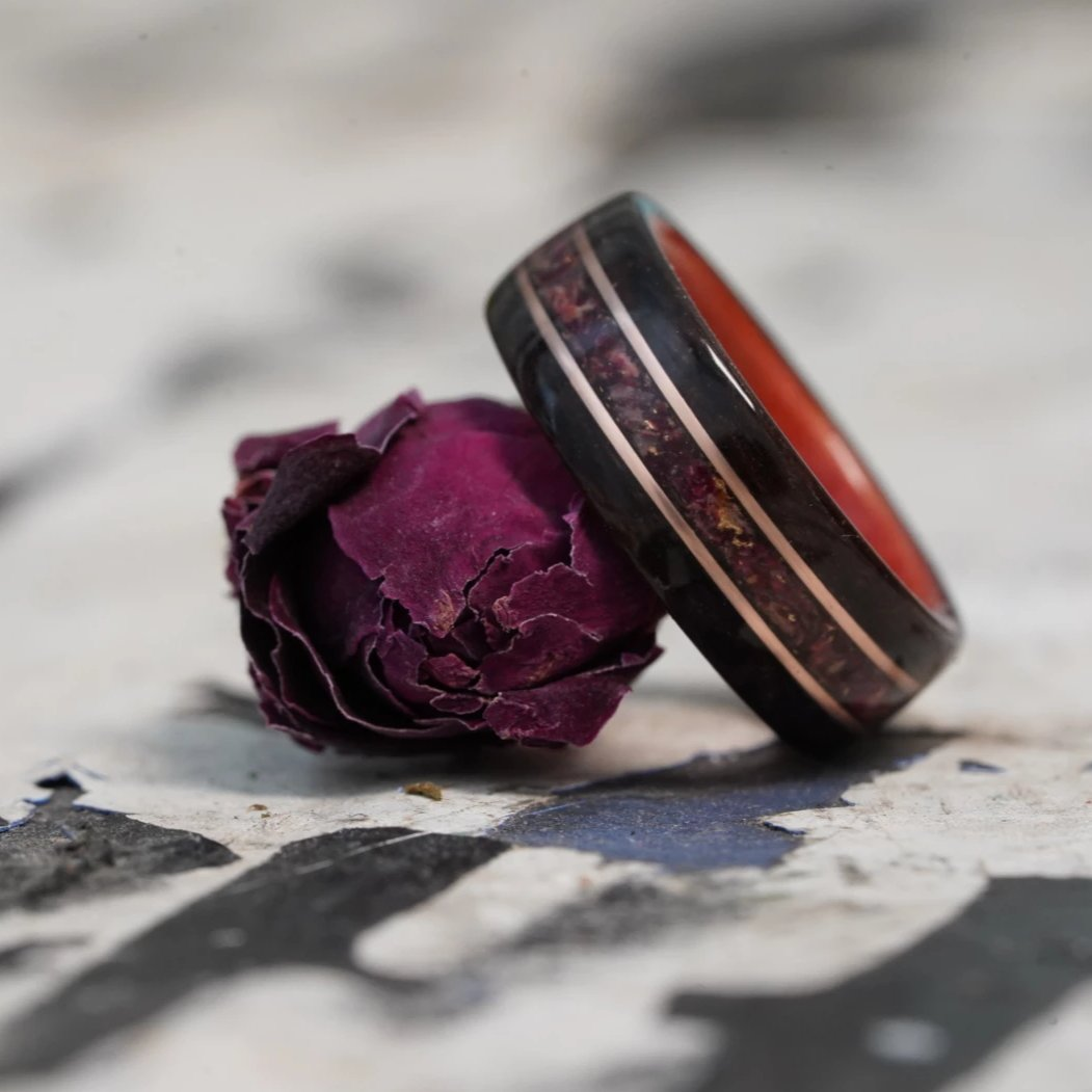 (In Stock) Rosewood & Pink Ivory w/Crushed Roses & Rose Gold Inlays  Size 6.5/5.5mm