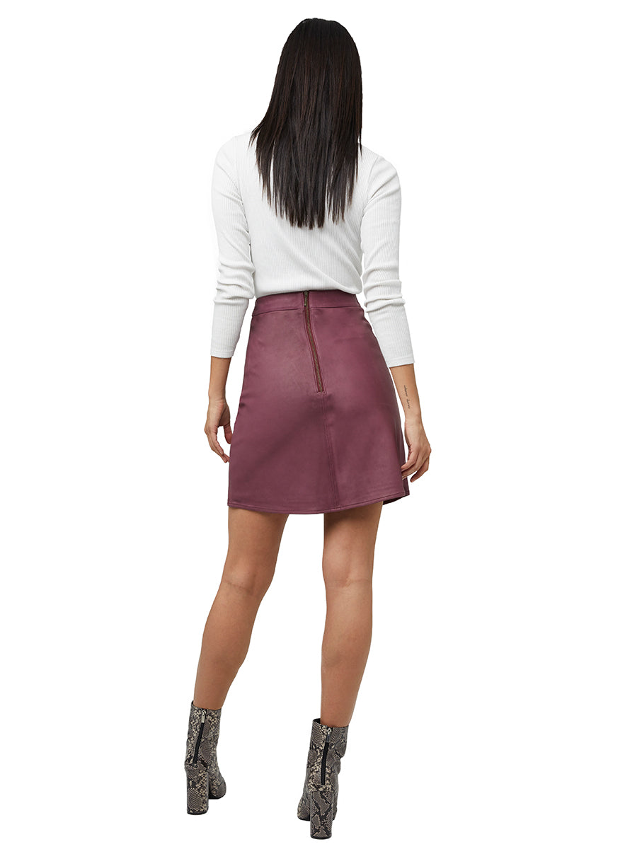 CARLY A-LINE LEATHER SKIRT