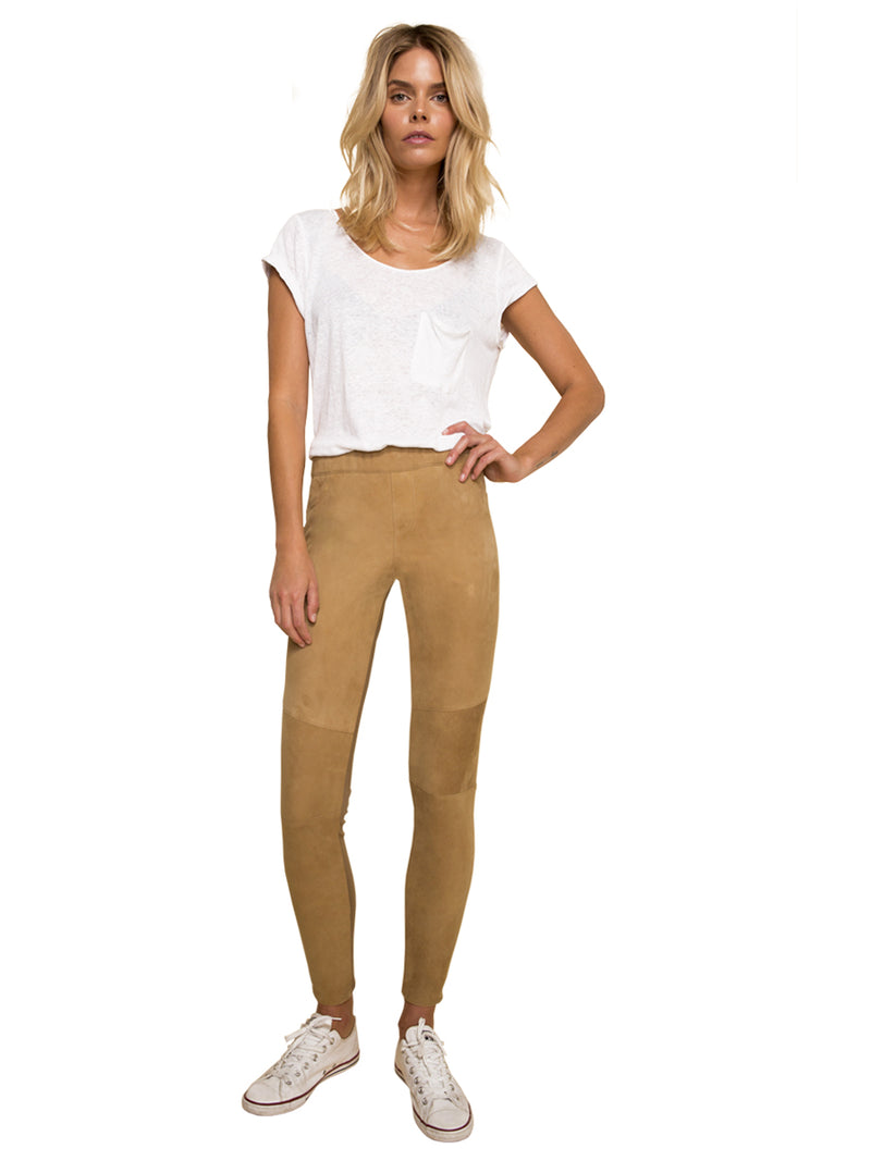 MISHA ANKLE SUEDE LEGGINGS