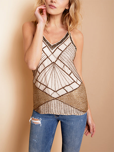 BIANCA BEADED SILK CAMI