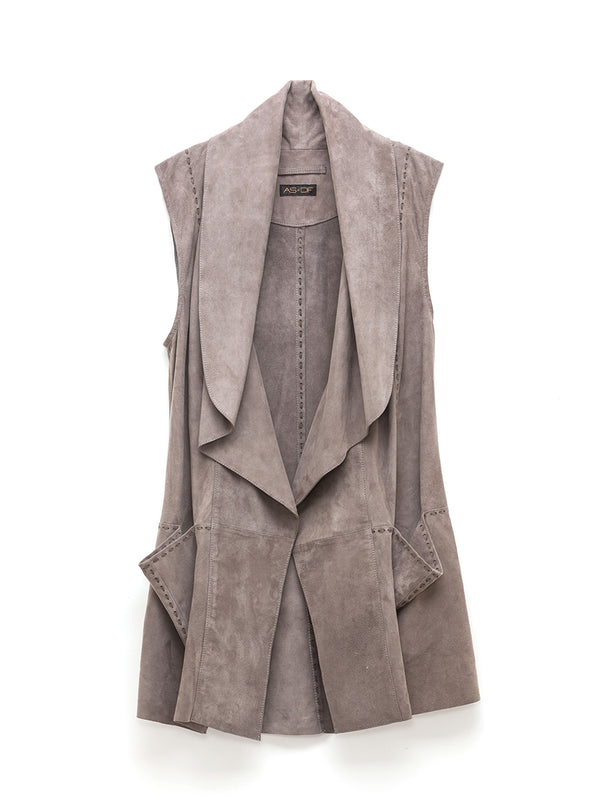 Moonlight Suede Drape Vest