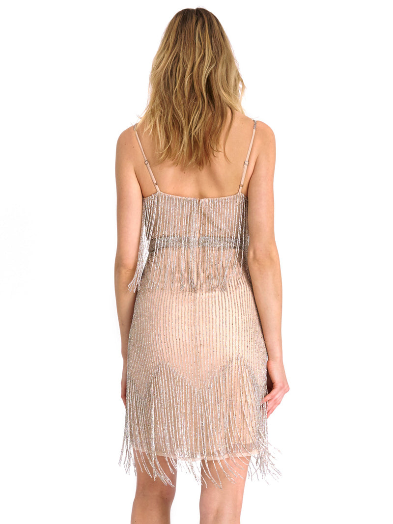 Champagne Beaded Waterfall Dress