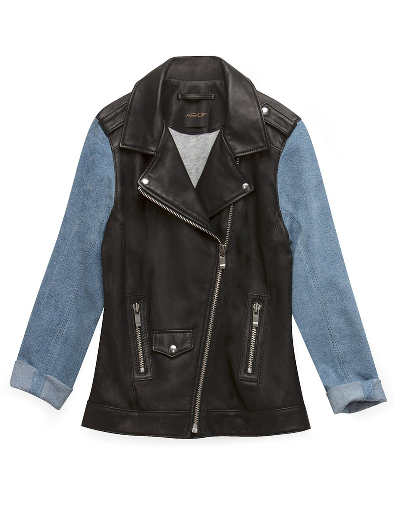 THE EDITOR LEATHER DENIM JACKET