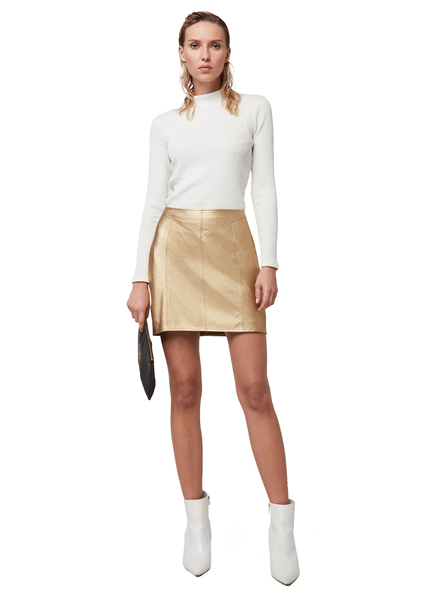 SOLID GOLD LEATHER SKIRT