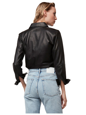LA NUIT LEATHER BLOUSE